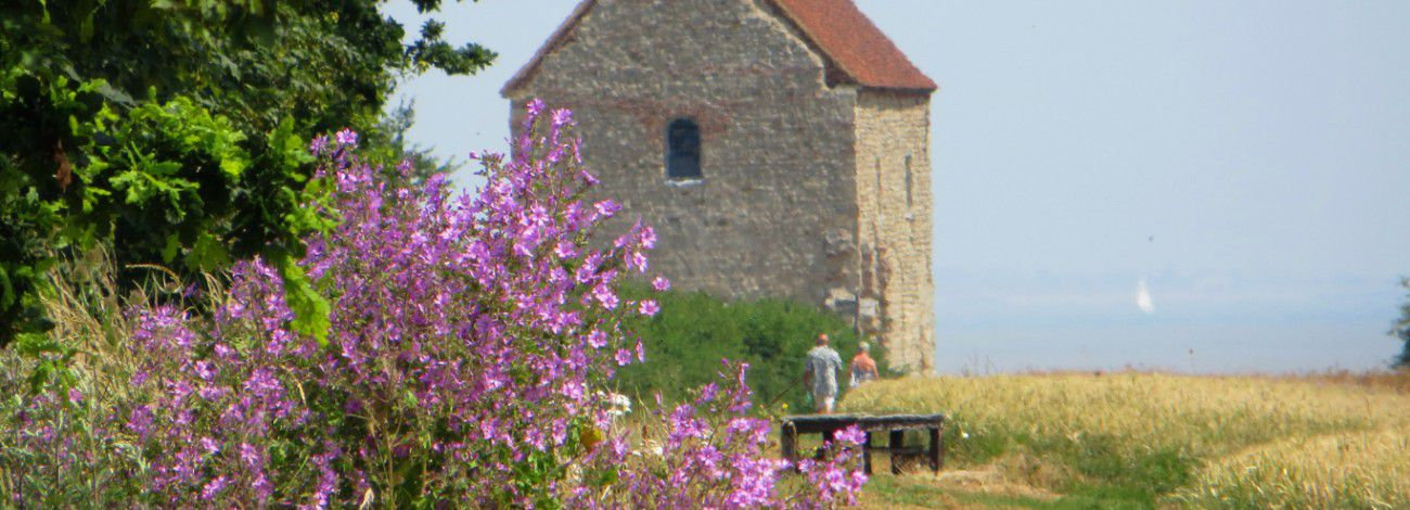 The view of Bradwell Chapel from the main path